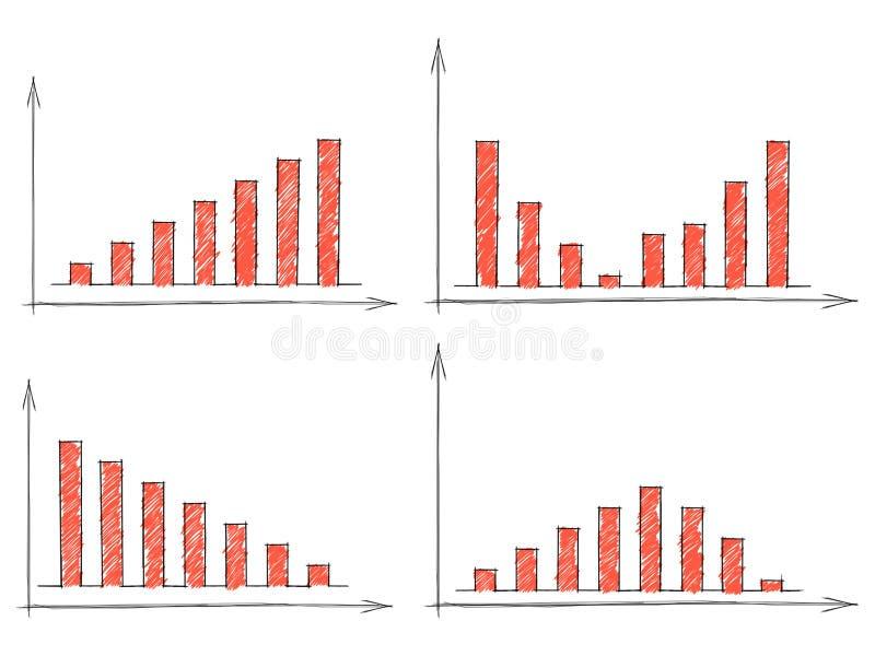 Satz von vier roten Balkendiagrammen lizenzfreie abbildung