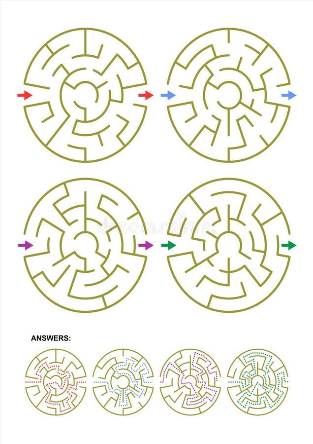 Satz von vier runden Labyrinthspielschablonen mit Antworten lizenzfreie abbildung