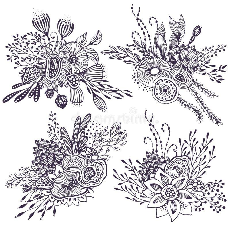 Satz von vier schönen Fantasieblumensträußen mit der gezeichneten Hand blüht, Anlagen, Niederlassungen vektor abbildung