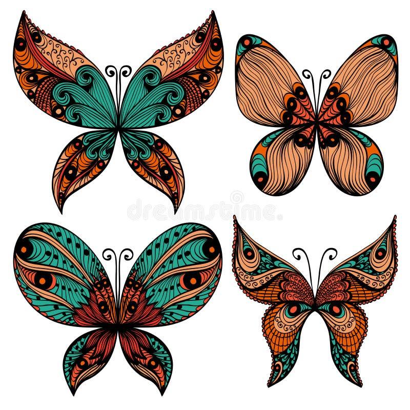 Satz von vier Schmetterlingsschattenbildern vektor abbildung
