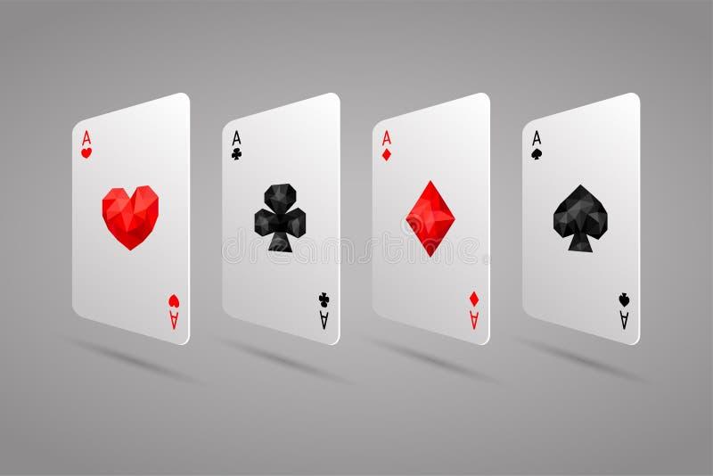 Satz von vier Spielkarteklagen der Asse Poker-Hand lizenzfreie abbildung