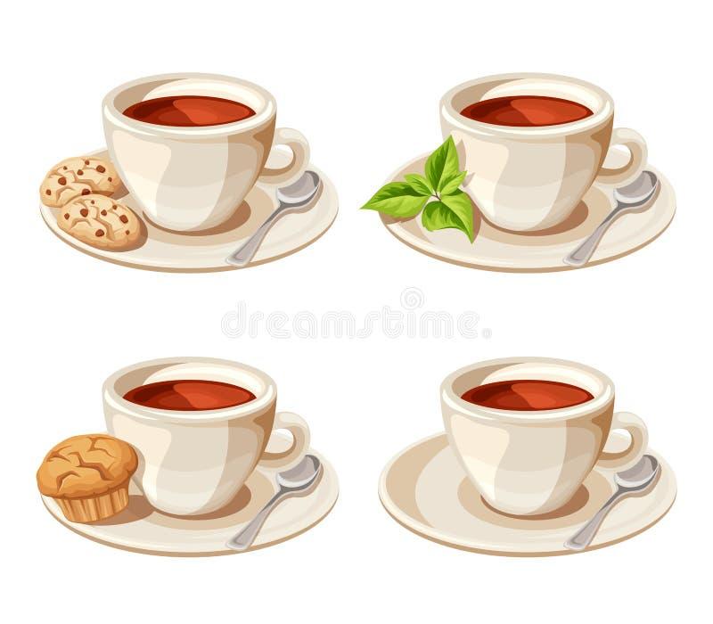 Satz von vier Tassen Tee Auch im corel abgehobenen Betrag vektor abbildung