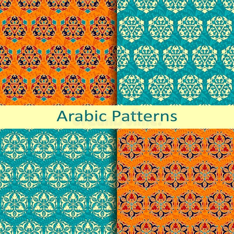 Satz von vier traditionellen bunten arabischen Mustern stock abbildung