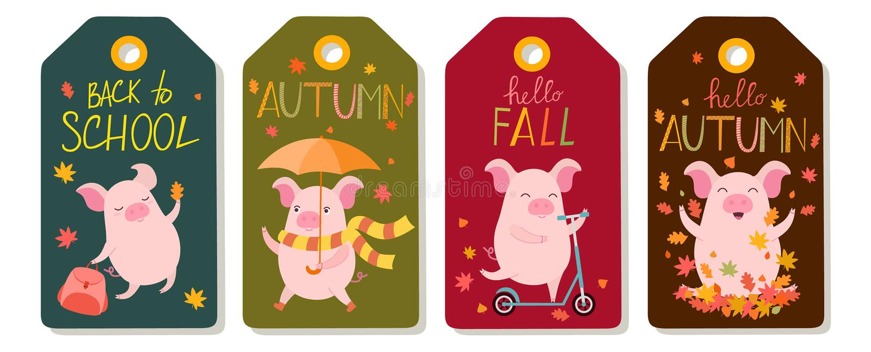 Satz von vier Vektorherbsttags mit netten Schweinen Auch im corel abgehobenen Betrag lizenzfreie abbildung