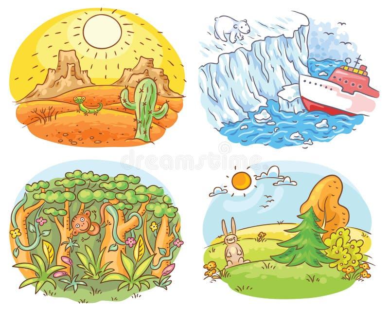 Satz von vier verschiedenen Klimazonen - verlassen Sie, Arktis, Dschungel und gemäßigtes Klima lizenzfreie abbildung