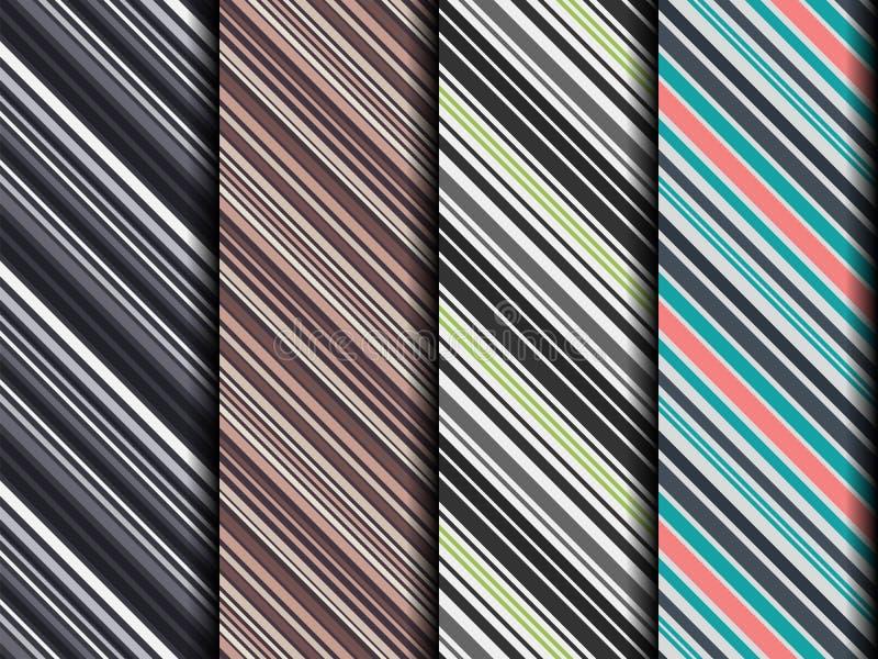 Satz von vier verschiedenen nahtlosen dunklen diagonalen Mustern stock abbildung