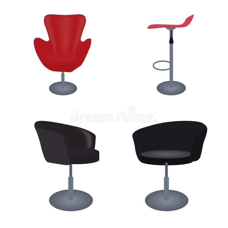 Satz von von bequemen Stühlen und von von Stange der modernen und antiken Möbel vektor abbildung