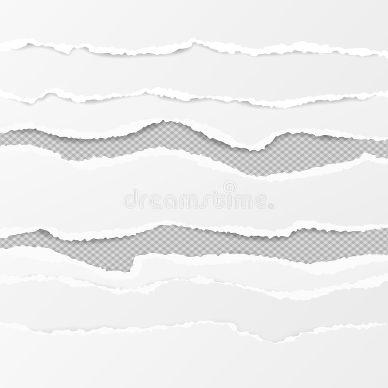 Satz von weißen horizontalen zerrissenen Papierstreifen, von heftigem Briefpapier für Text oder von Mitteilung auf grauem quadrat lizenzfreie abbildung