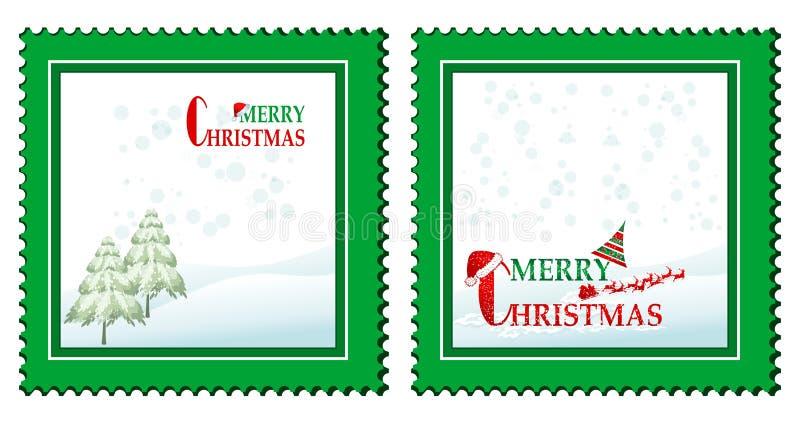 Satz von 2 Weihnachtskarten vektor abbildung