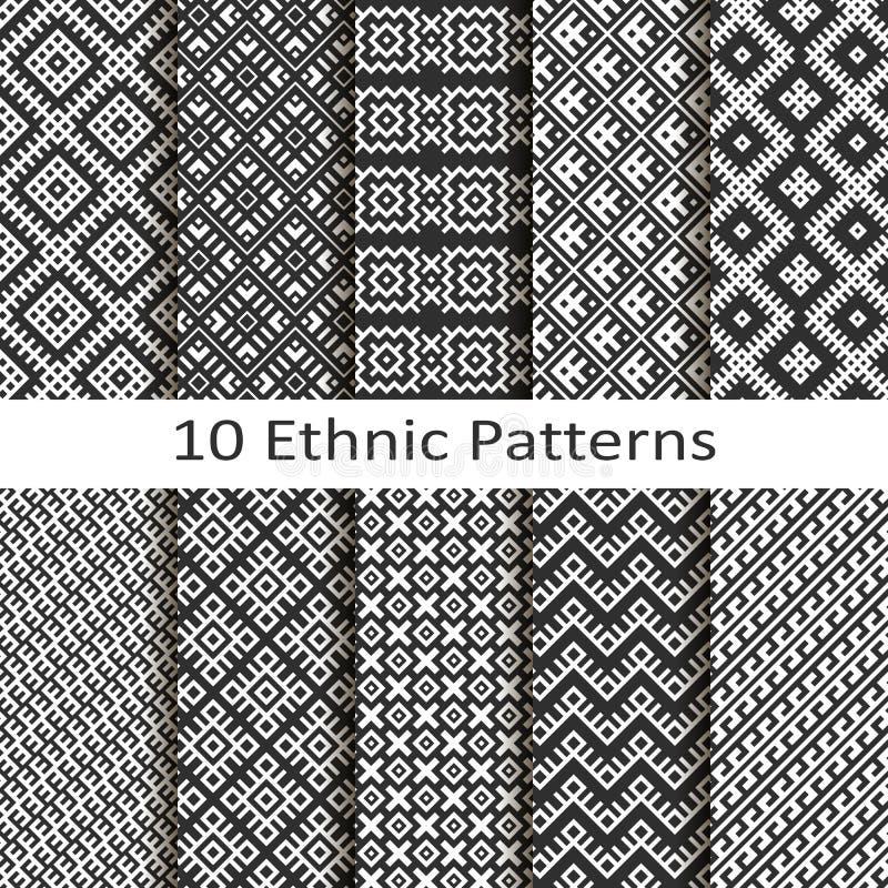 Satz von zehn ethnischen Mustern vektor abbildung