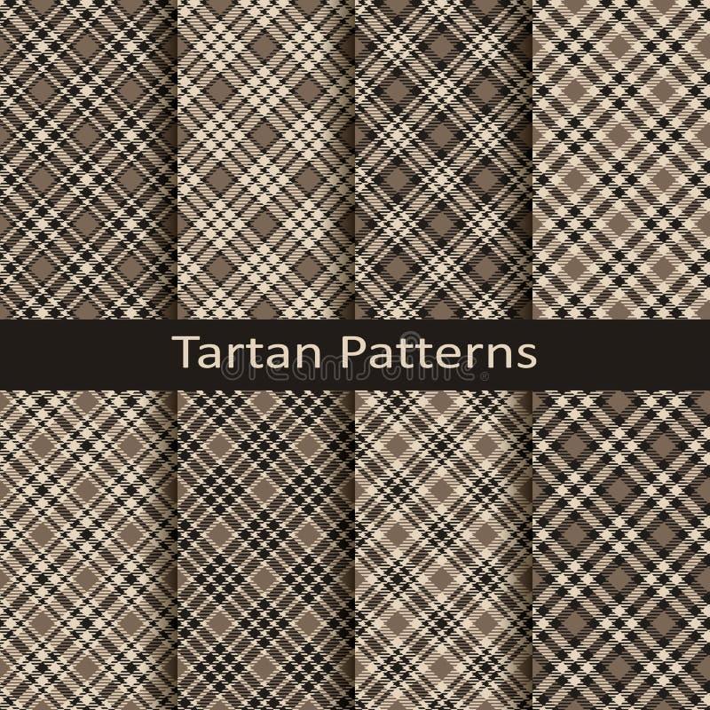 Satz von zehn Gingham und von nahtlosen Vektormustern des Schottenstoffs Design für Kleidung, Verpackung, Abdeckungen vektor abbildung