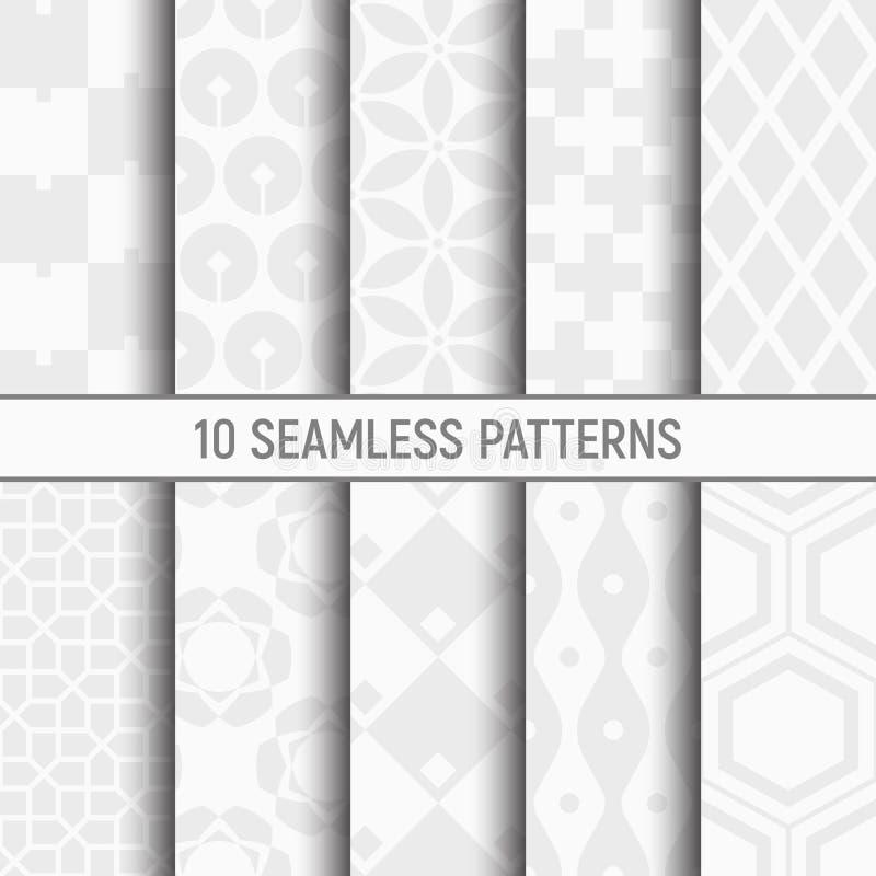 Satz von zehn nahtlosen Mustern Weiße und graue geometrische Beschaffenheiten vektor abbildung