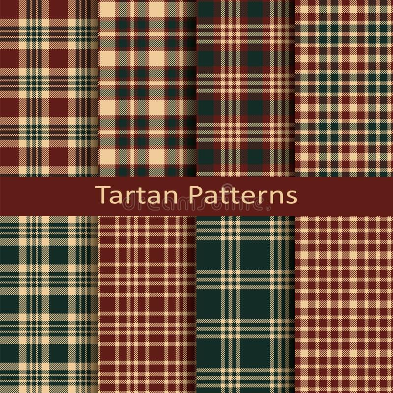 Satz von zehn Schottenstoff-Quadratmustern des nahtlosen Vektors schottischen Design für Abdeckungen, Gewebe, verpackend vektor abbildung