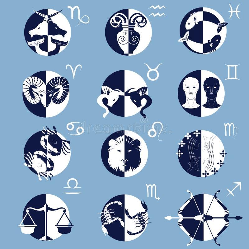 Satz von zwölf Tierkreis-Horoskop-Zeichen und Symbolen vektor abbildung