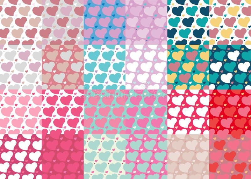 Satz von zwanzig vier nahtlosen Mustern der Herzen stellte zwanzig vier ein vektor abbildung