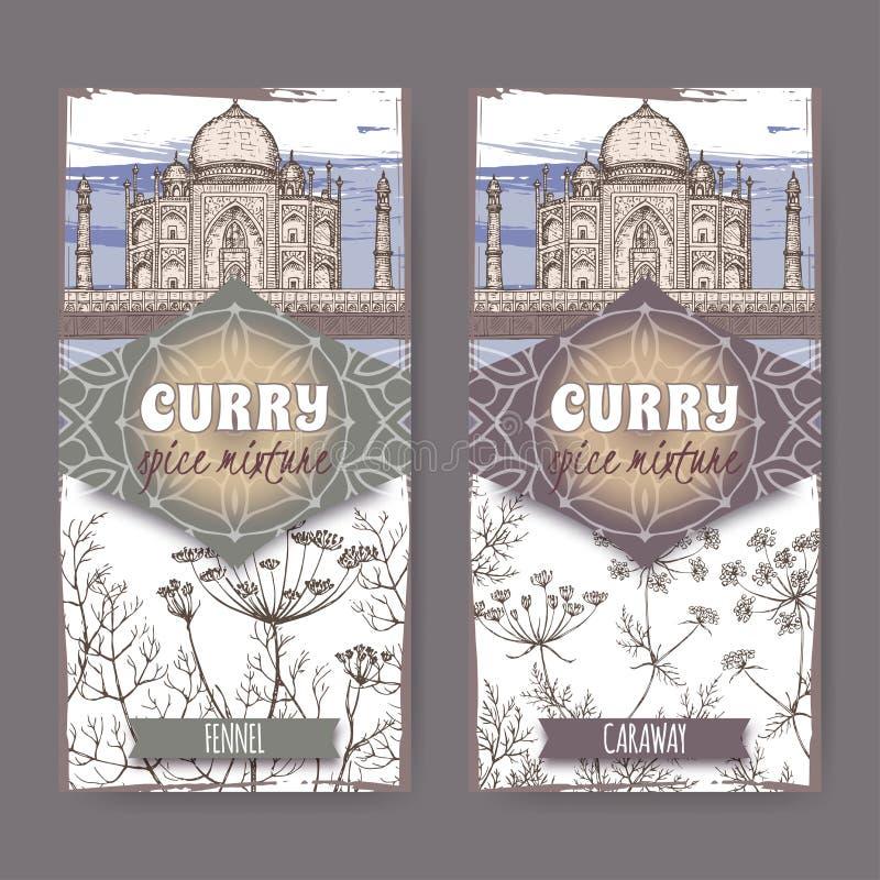 Satz von zwei Aufklebern mit Fenchel, Kümmel und Taj Mahal übergeben gezogene Farbskizze vektor abbildung