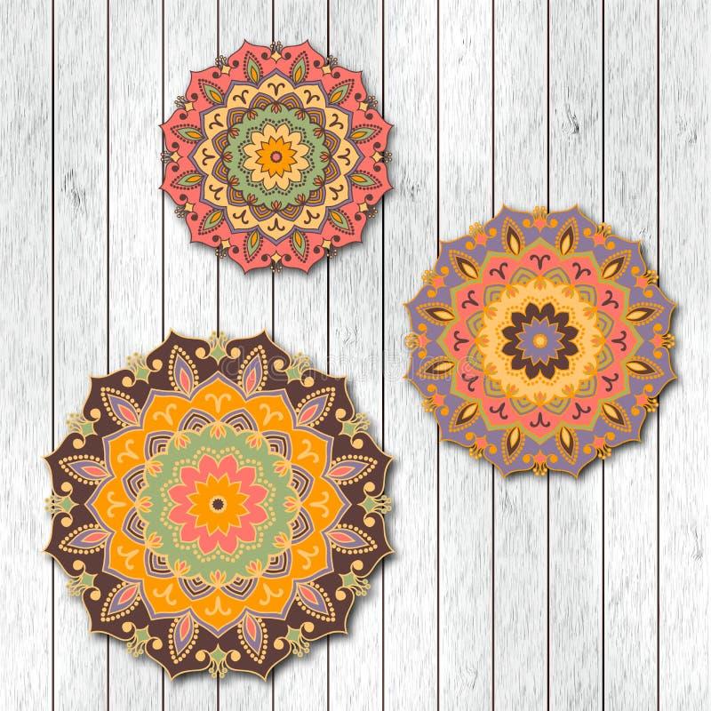Satz von zwei dekorativen Blumenmandalakarten, Besuchsschablone, g vektor abbildung