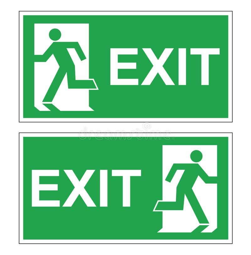 Satz von zwei grünen Evakuierungszeichen des Vektors Notausgangrecht und verlassen stockfoto