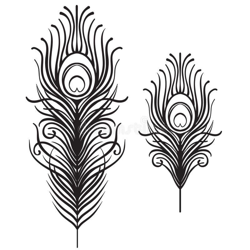 Satz von zwei lokalisierten Federn Retro- Hand gezeichnetes Vektor illustrati lizenzfreie abbildung