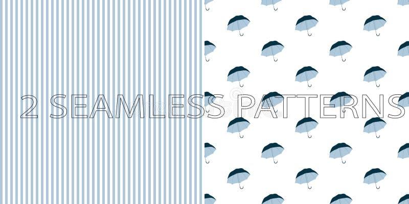 Satz von zwei nahtlosen Mustern in der blauen Farbe lizenzfreie abbildung