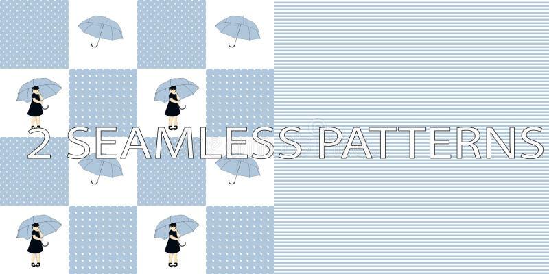 Satz von zwei nahtlosen Mustern in der blauen Farbe stock abbildung