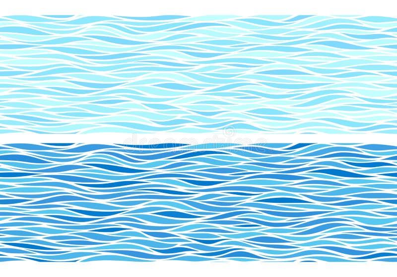 Satz von zwei nahtlosen Mustern mit blauen Wellen stock abbildung