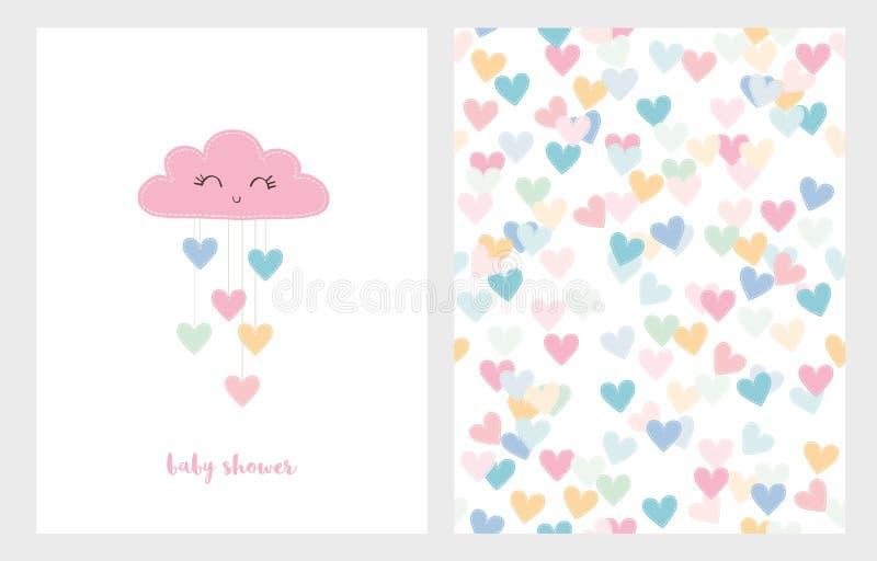 Satz von zwei netten Vektor-Illustrationen Rosa lächelnde Wolke mit fallenden Herzen Rosa Babyparty-Text vektor abbildung