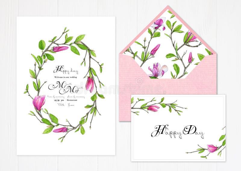 Satz von zwei Schablonen für Grüße oder Einladungen zur Hochzeit in den grünen und rosa Farben lizenzfreie abbildung