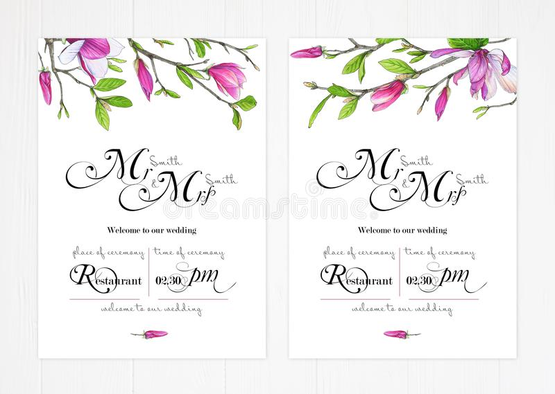 Satz von zwei Schablonen für Grüße oder Einladungen zur Hochzeit in den grünen und rosa Farben vektor abbildung
