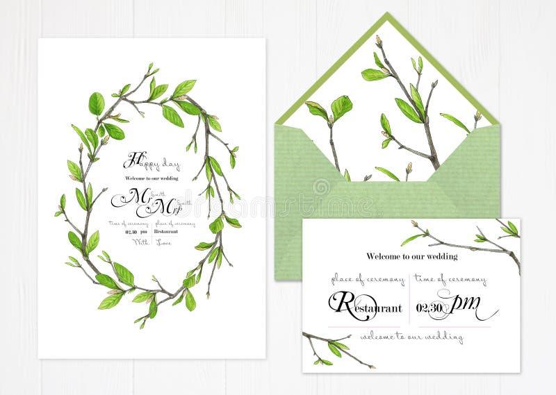Satz von zwei Schablonen für Grüße oder Hochzeitseinladungen in den grünen Farben lizenzfreie abbildung