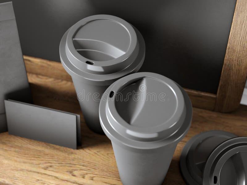 Satz von zwei schwarzen Kaffeetassen, von leeren Visitenkarten und von Tafel auf Bücherregal 3d übertragen lizenzfreie stockbilder