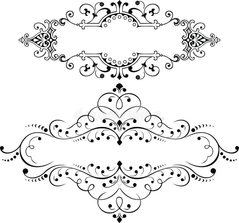 Satz von zwei Weinlese-aufwändigen Kurven-Elementen vektor abbildung