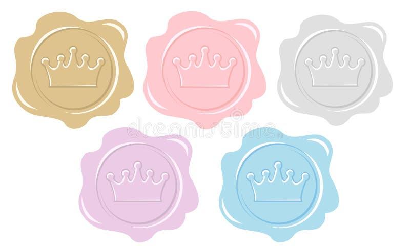 Satz Wachssiegelikonen Element des Designs für königliche Parteieinladungskarte Prinzessin- oder Prinzbuchstabe stock abbildung