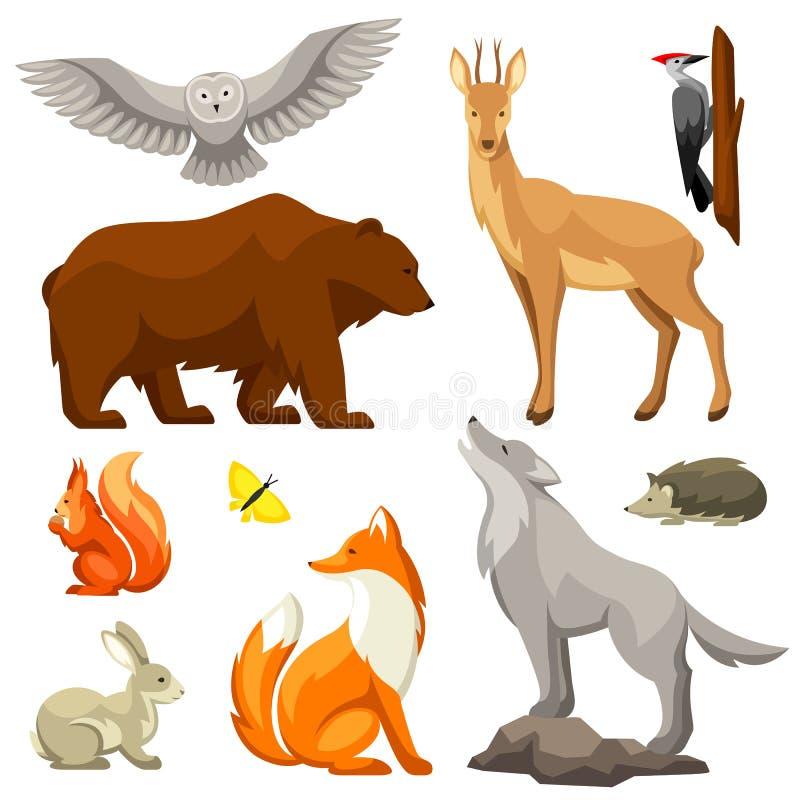 Satz Waldwaldtiere und -vögel Stilisiert Abbildung lizenzfreie abbildung