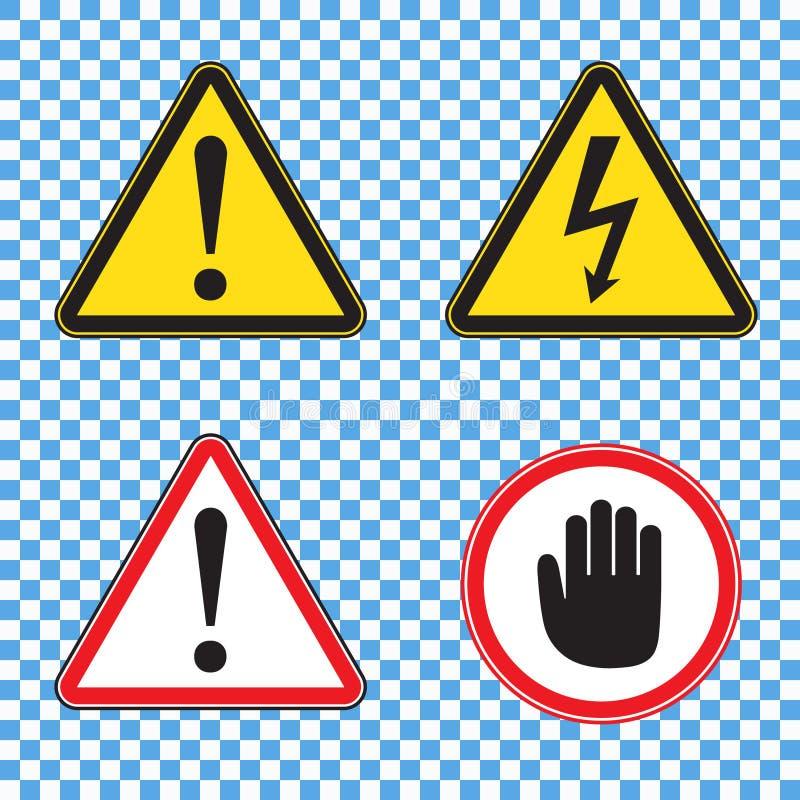 Satz Warnzeichen für Unbedenklichkeitserklärung: Warnschild, Hochspannungszeichen, rotes Aufmerksamkeitszeichen mit Palme lizenzfreie abbildung