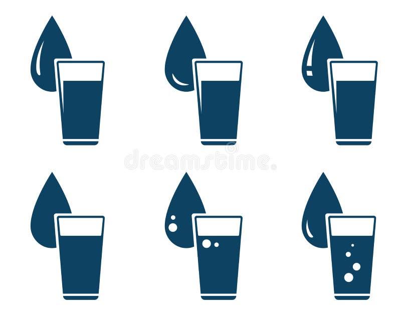 Satz Wasserglas mit Tropfen vektor abbildung