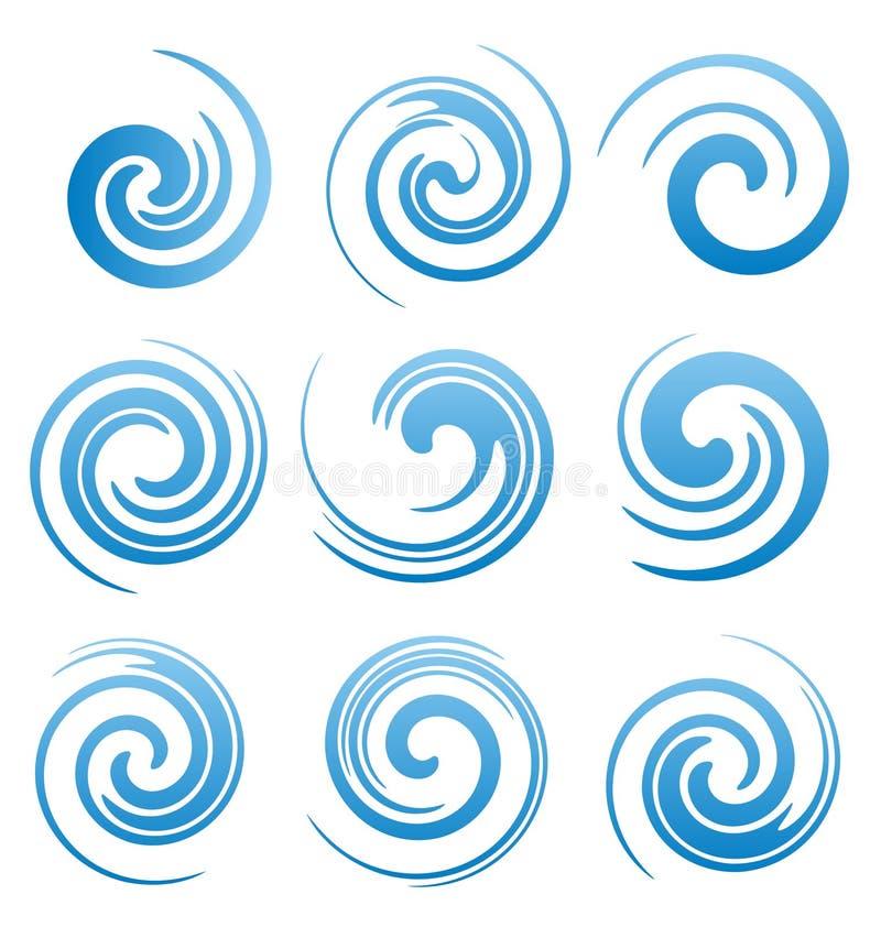 Satz Wasserstrudel- und -zusammenfassungswellen lizenzfreie abbildung