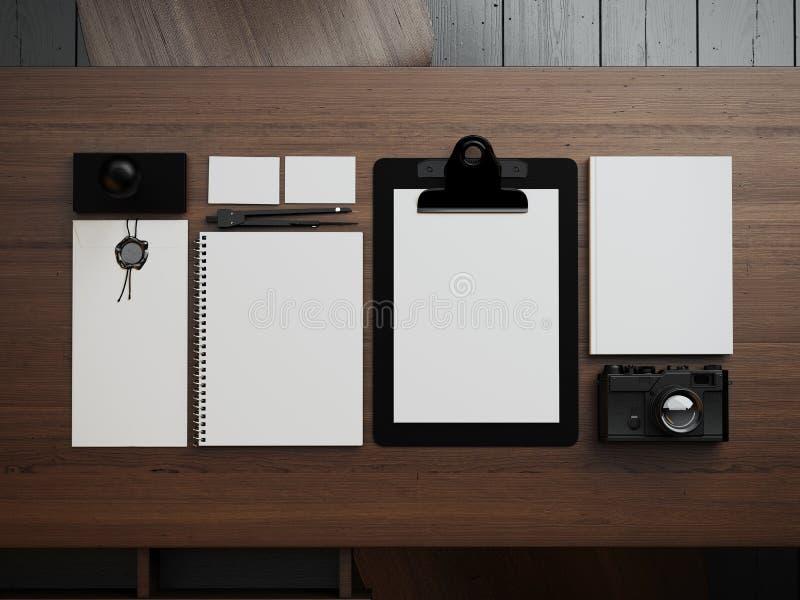 Satz weiße Elemente auf der braunen Tabelle 3d lizenzfreie stockfotografie