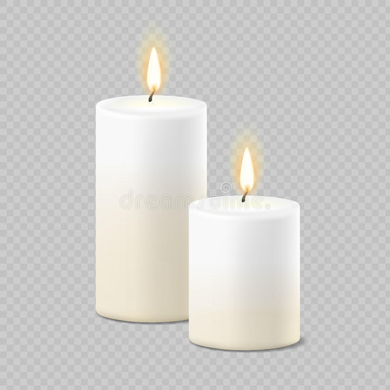 Satz weiße Kerzen des realistischen Vektors mit Feuer auf transparentem Hintergrund vektor abbildung