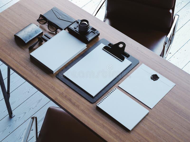 Satz weiße Retro- Elemente auf der braunen Tabelle 3d lizenzfreie stockfotos