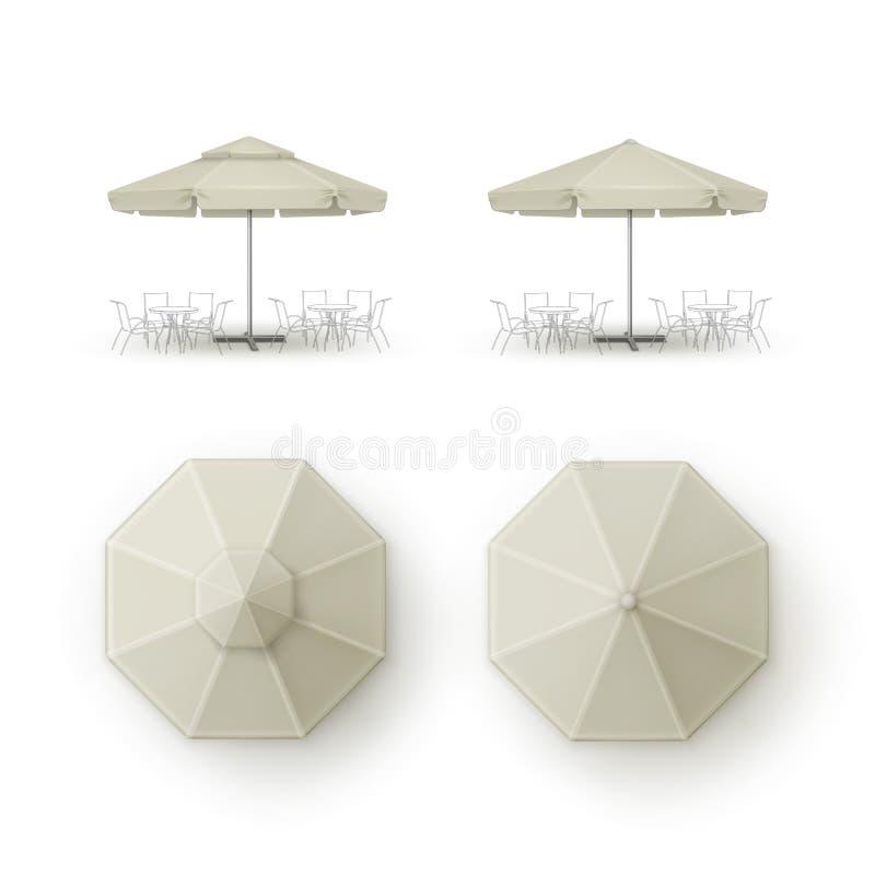 Satz weißes beige leeres Patio-Markt-Strand-Café-Bar-Restaurant-im Freien des runden Regenschirm-Sonnenschirmes auf Hintergrund lizenzfreie abbildung