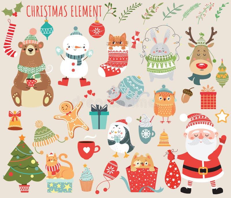 Satz Weihnachts- und des neuen Jahreselemente mit Tieren und Sankt lizenzfreie abbildung