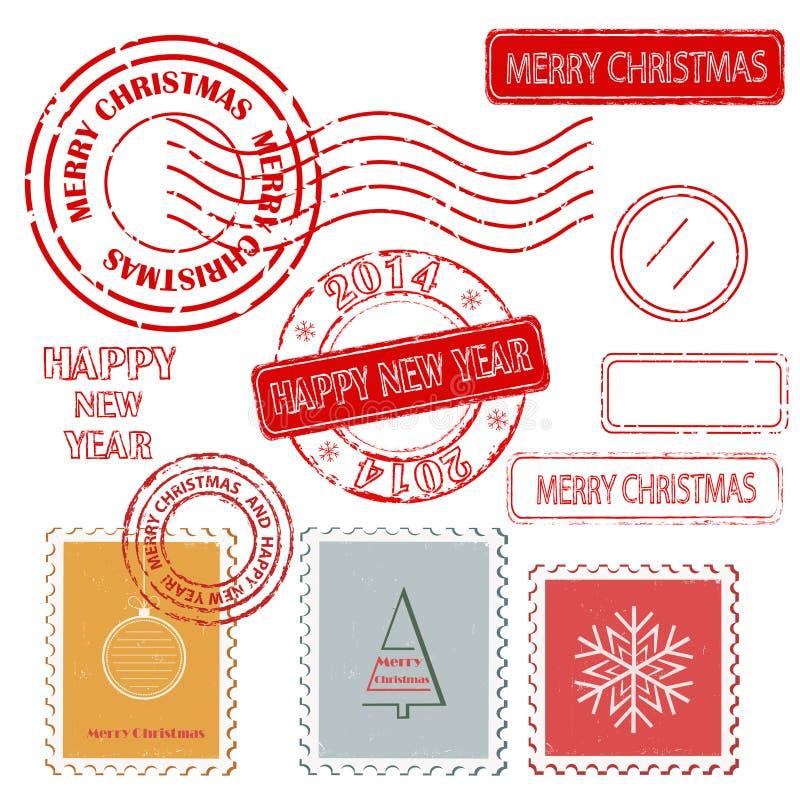 Satz Weihnachts- und des neuen Jahresstempel. lizenzfreie abbildung
