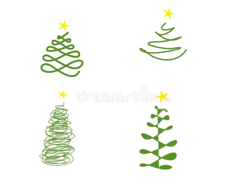 Satz Weihnachtsbaumformen stockfotos