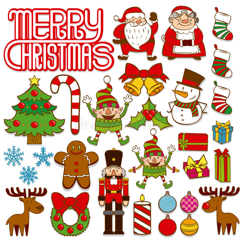 Satz Weihnachtselemente lokalisiert auf weißem Hintergrund stock abbildung