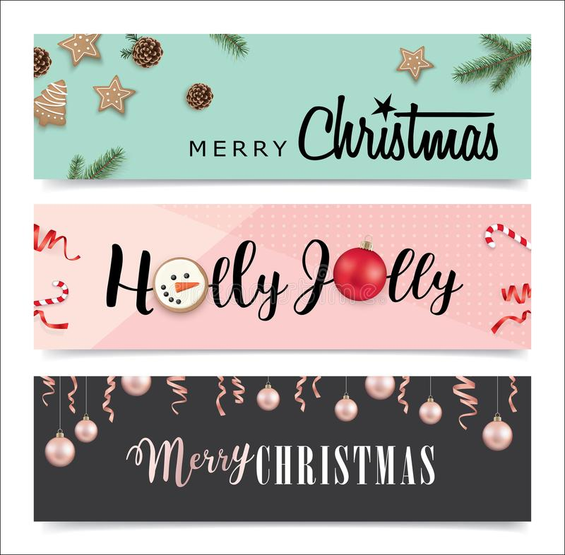 Satz Weihnachtsfahnendesign lizenzfreie abbildung