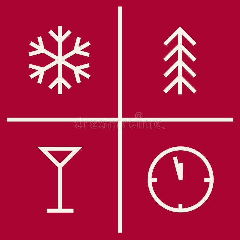 Satz Weihnachtsgeometrische Ikonen Symbole des neuen Jahres vektor abbildung