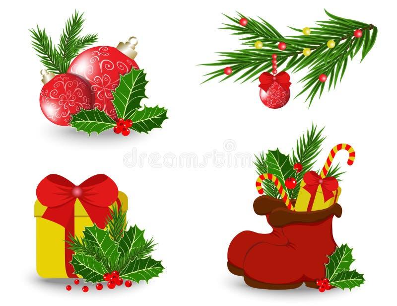 Satz Weihnachtsikonen vektor abbildung