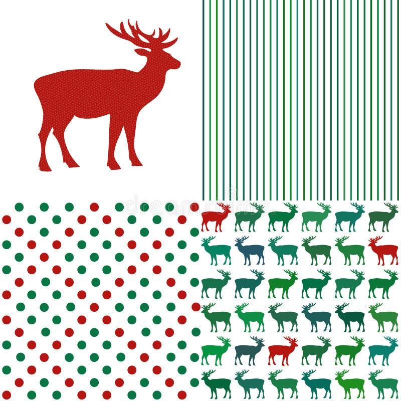 Satz Weihnachtsmuster Streifen und Tupfen vektor abbildung