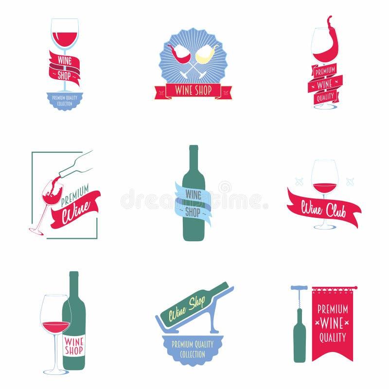 Satz Weinhandlungslogos, Aufkleber lizenzfreie abbildung